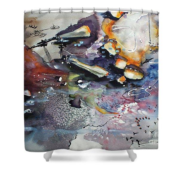 Modern Art Travel Log 03 Dec 7 2017 Shower Curtain