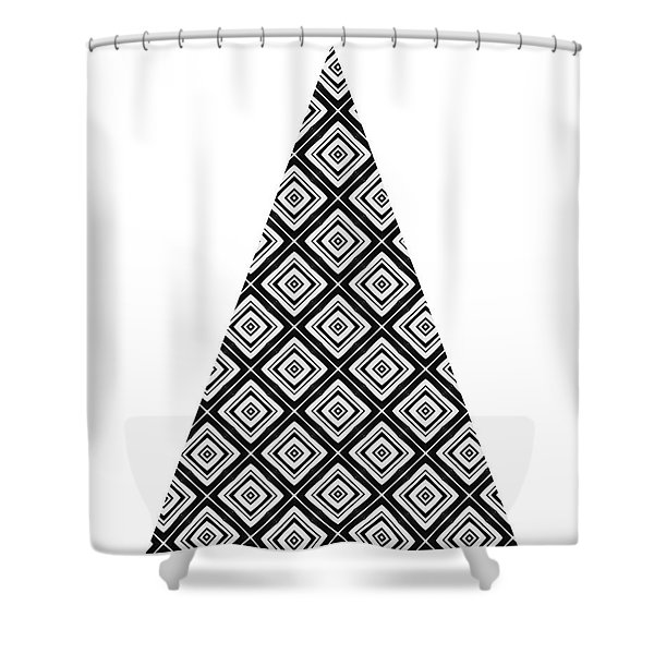 Modern Black And White Tree 1- Art By Linda Woods Shower Curtain