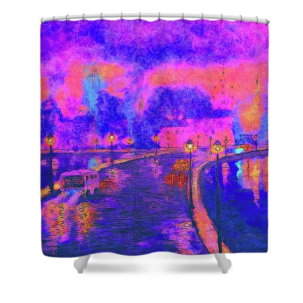 Modern Colorful Cityscape  Shower Curtain