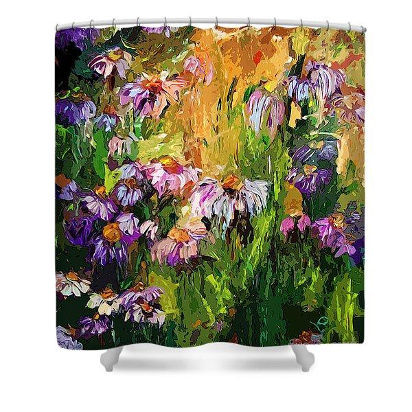 Modern Coneflower Art Mixed Media Shower Curtain