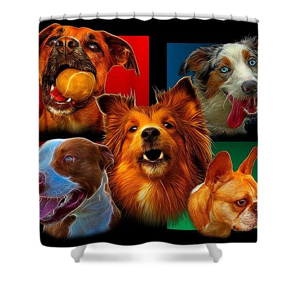 Modern Dog Art - 0001 Shower Curtain