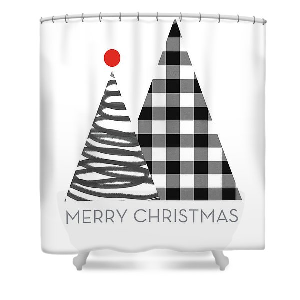 Modern Merry Christmas Trees - Art By Linda Woods Shower Curtain