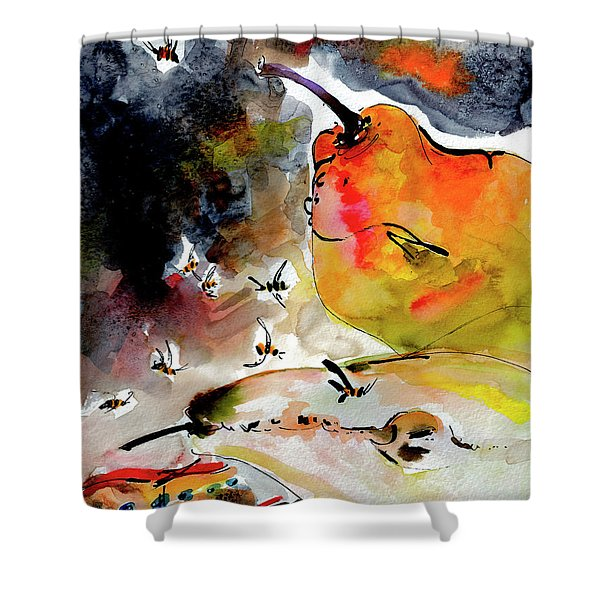 Modern Pears And Bees By Ginette Shower Curtain