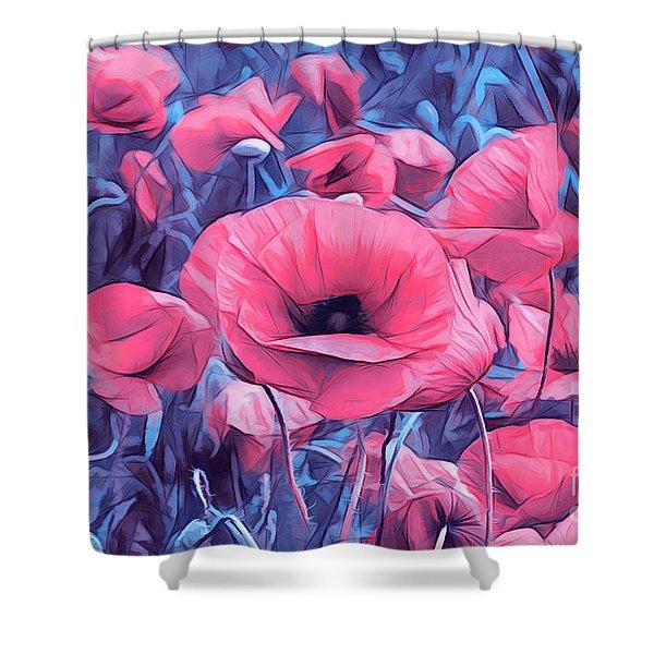 Modern Poppies Shower Curtain