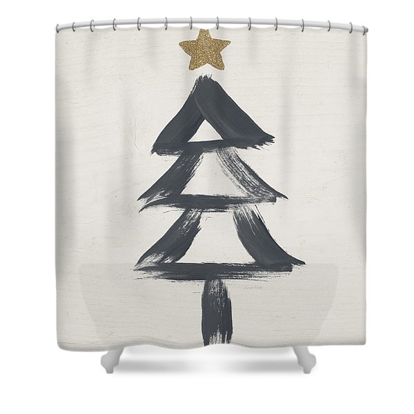 Modern Primitive Black And Gold Tree 2- Art By Linda Woods Shower Curtain