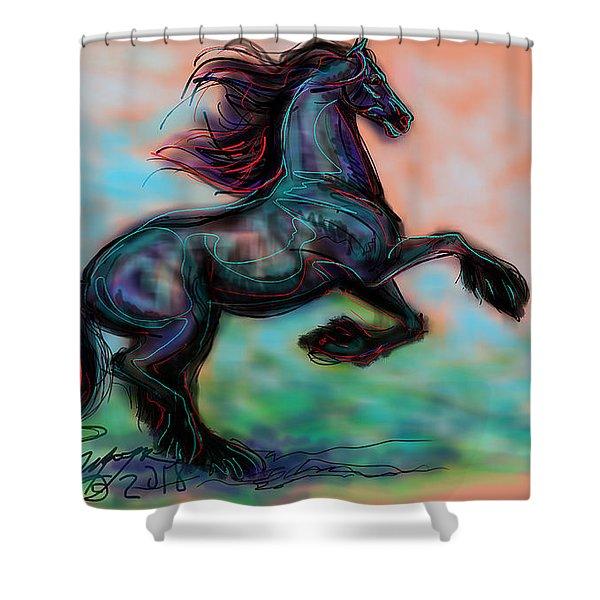 Modern Royal Friesian Shower Curtain