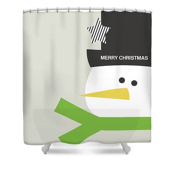 Modern Snowman Merry Christmas- Art By Linda Woods Shower Curtain