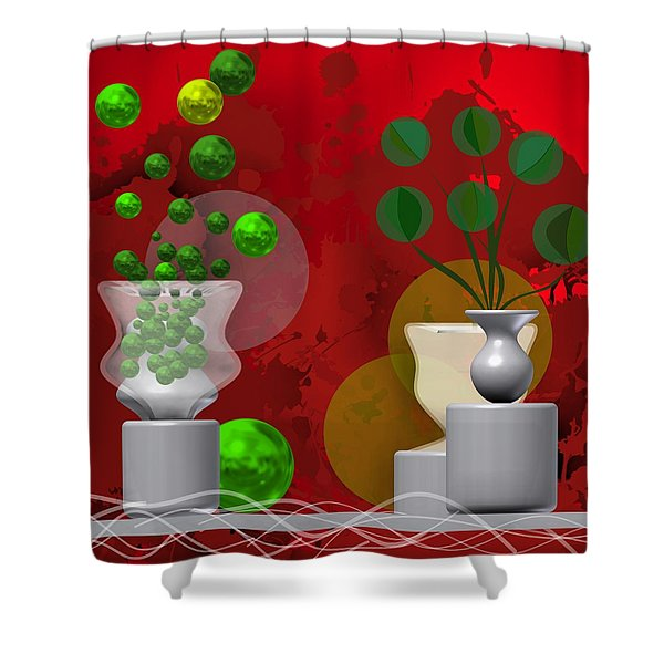 Modern Still Life In Bright Red Shower Curtain