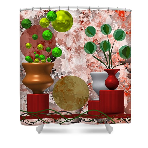 Modern Still Life With Abstract Flowers Shower Curtain