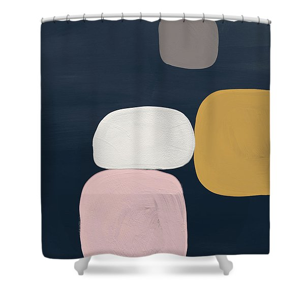 Modern Stones Navy 2- Art By Linda Woods Shower Curtain