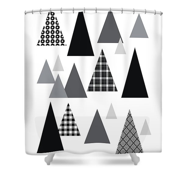 Modern Triangle Trees- Art By Linda Woods Shower Curtain