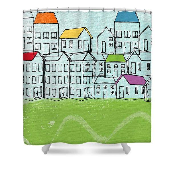 Modern Village Shower Curtain