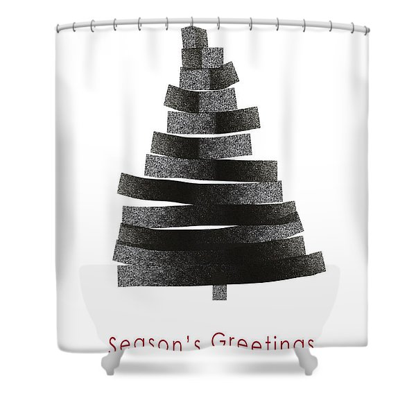 Modern Winter Tree- Season's Greetings Art By Linda Woods Shower Curtain
