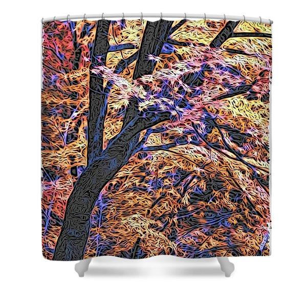 Moku Hanga Autumn Shower Curtain