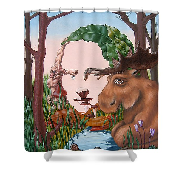 Mona Lisa . Earth Shower Curtain