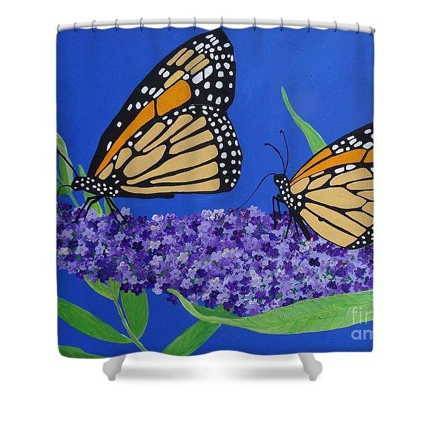 Monarch Butterflies On Buddleia Flower Shower Curtain