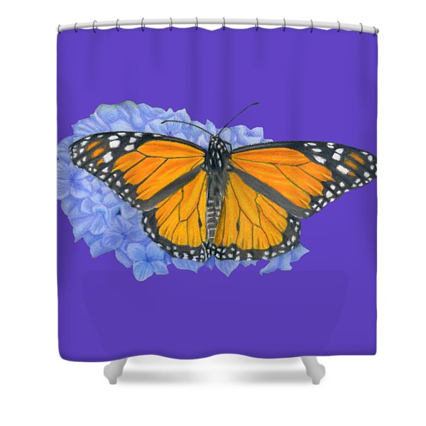 Monarch Butterfly And Hydrangea- Transparent Background Shower Curtain