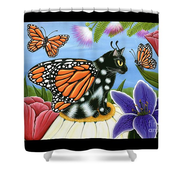 Monarch Butterfly Fairy Cat Shower Curtain