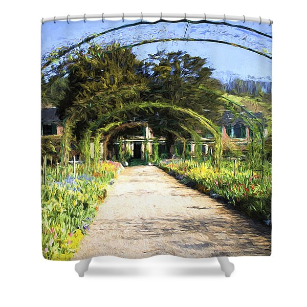 Monet House And Spring Garden In Giverny Shower Curtain