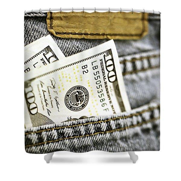 Money Jeans Shower Curtain