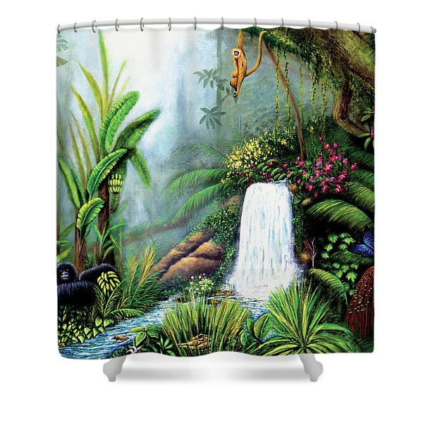 Shower Curtain featuring the painting Monkeying Around by Lynn Buettner