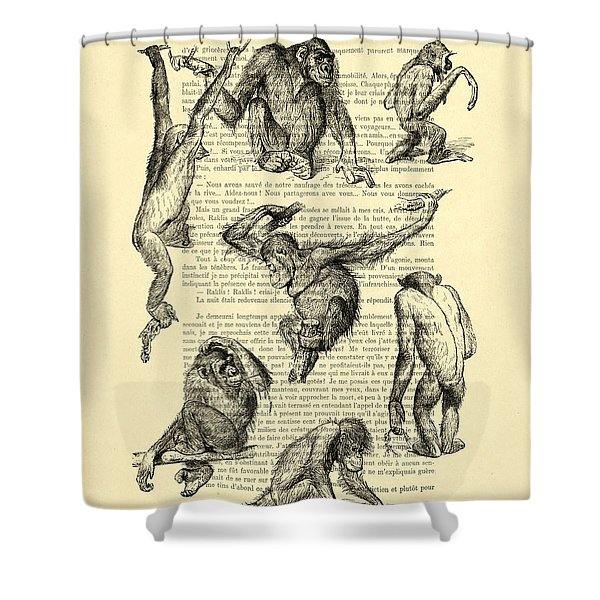 Monkeys Black And White Illustration Shower Curtain