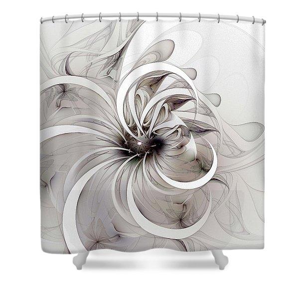 Monochrome Flower Shower Curtain