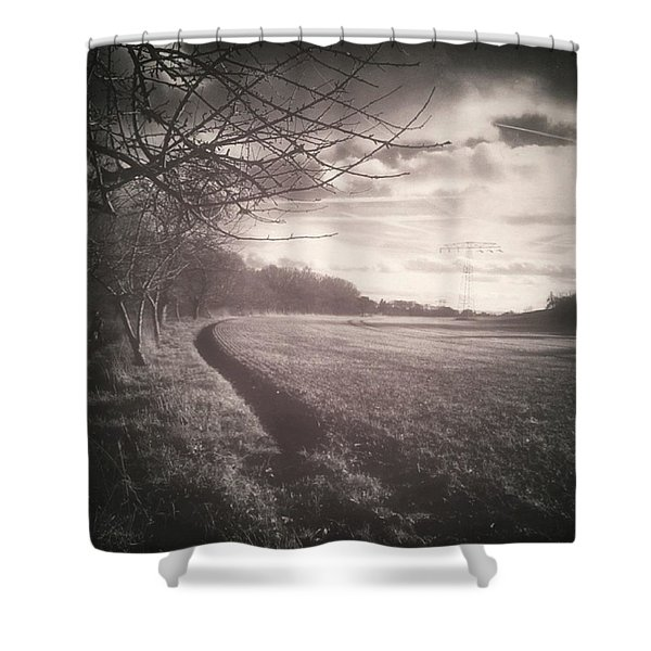 #monochrome #landscape  #field #trees Shower Curtain