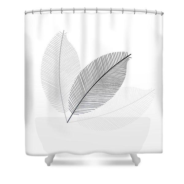 Monochrome Leaves Shower Curtain