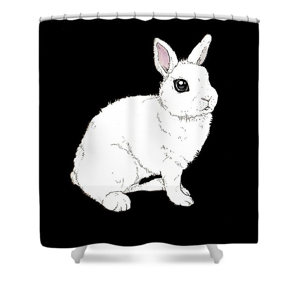 Monochrome Rabbit Shower Curtain