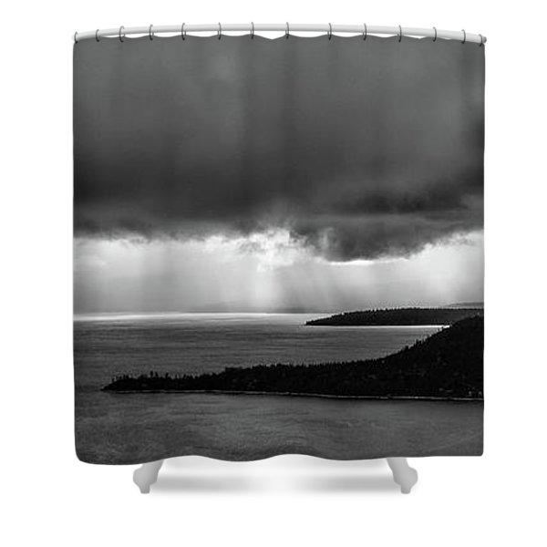 Monochrome Storm Panorama Shower Curtain