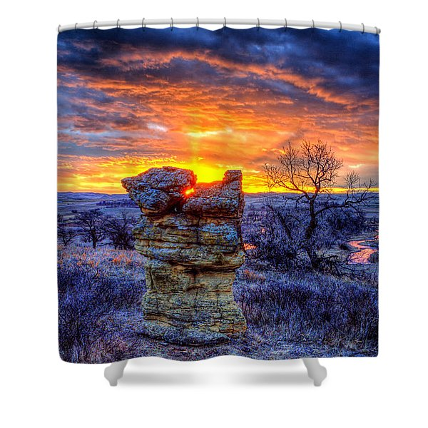 Monolithic Sunrise Shower Curtain