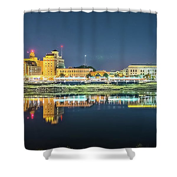 Shower Curtain featuring the photograph Monroe Louisiana City Skyline At Night by Alex Grichenko