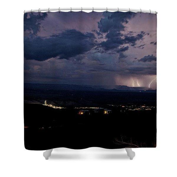 Monsoon Lightning Over Sedona From Jerome Az Shower Curtain