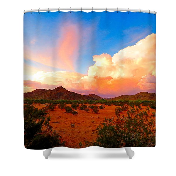 Monsoon Storm Sunset Shower Curtain