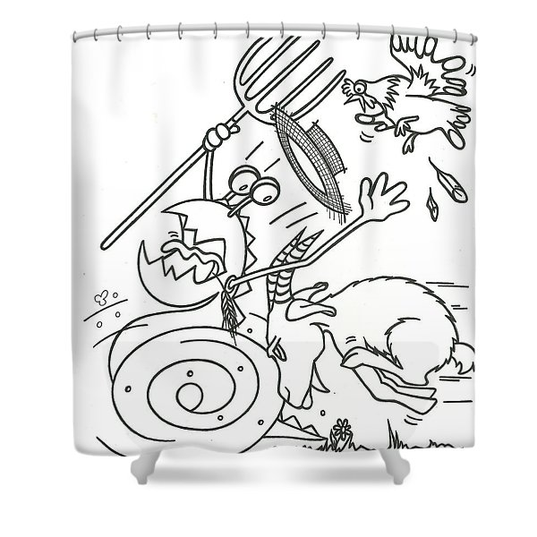 Monster Getting Chased Shower Curtain