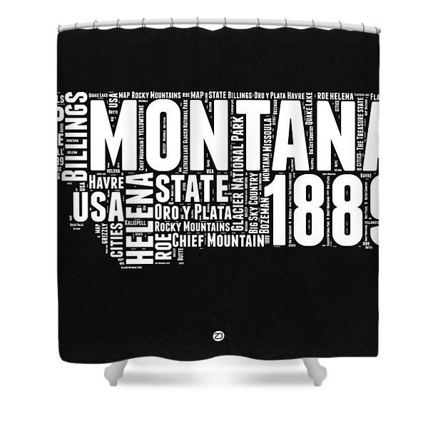 Montana Black And White Map Shower Curtain