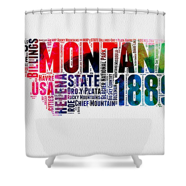 Montana Watercolor Word Cloud  Shower Curtain