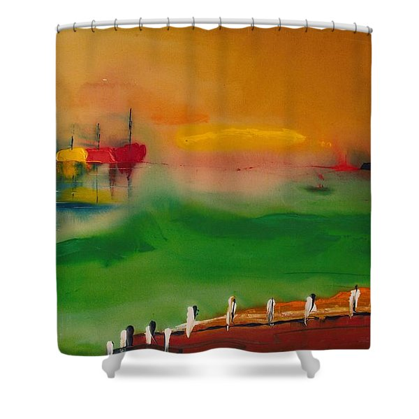 Montauk Marina Shower Curtain