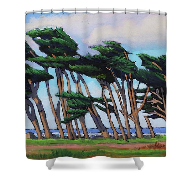 Monterey Cypress Row  Shower Curtain