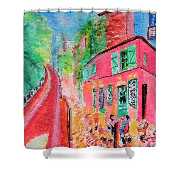 Montmartre Cafe In Paris Shower Curtain