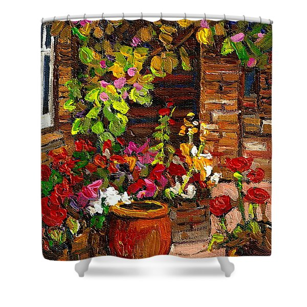 MONTREAL CITYSCENES HOMES AND GARDENS Shower Curtain by CAROLE SPANDAU