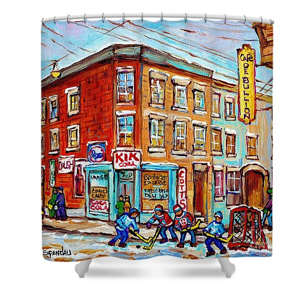Montreal Storefront Paintings Debullion Street Hockey Art Quebec Winterscenes C Spandau Canadian Art Shower Curtain