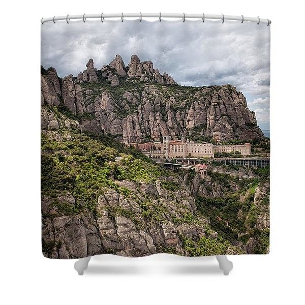 Montserrat Mountains And Monastery In Spain Shower Curtain