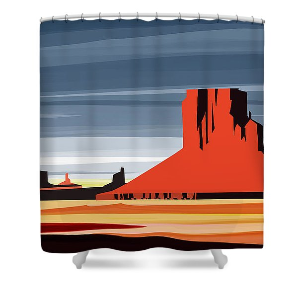 Shower Curtain featuring the painting Monument Valley Sunset Digital Realism by Sassan Filsoof