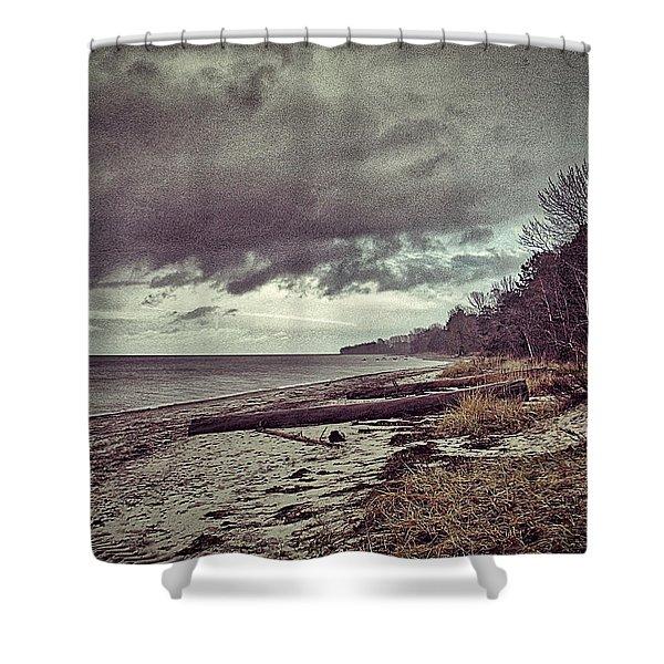 Moody Beach Shower Curtain