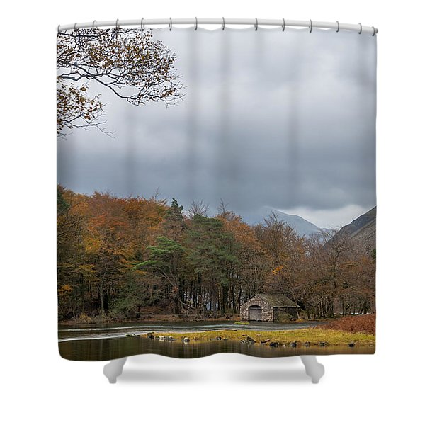 Moody Clouds Over A Boathouse On Wast Water In The Lake District Shower Curtain