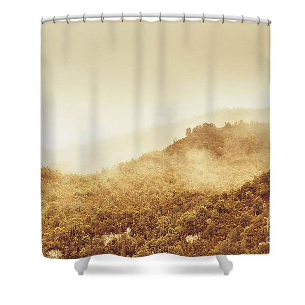 Moody Mountain Morning Shower Curtain