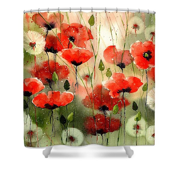 Moody Poppies In The Afternoon Shower Curtain