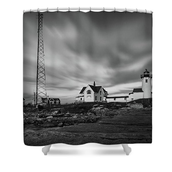 Moody Sky At Eastern Point Lighthouse Shower Curtain